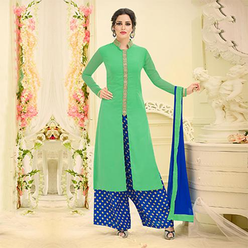Graceful Green Designer Embroidered Georgette Palazzo Suit