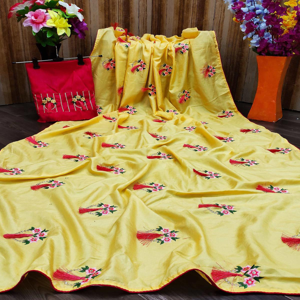 Pleasant Yellow Colored Partywear Embroidered Dola Silk Saree