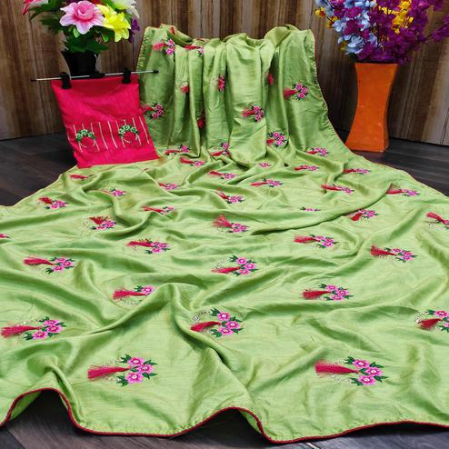 Opulent Green Colored Partywear Embroidered Dola Silk Saree