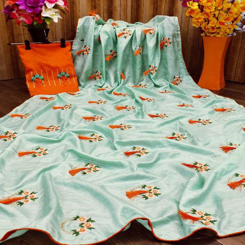Energetic Sea Green Colored Partywear Embroidered Dola Silk Saree