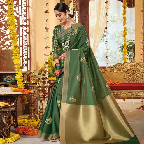Gleaming Green Colored Festive Wear Woven Soft Silk Saree
