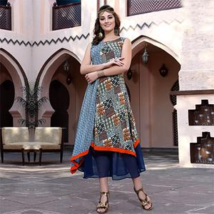 Stylish Blue Colored Designer Partywear Printed Georgette Kurti