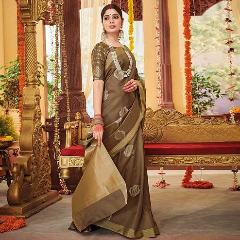 Unique Dark Beige Colored Festive Wear Woven Soft Silk Saree