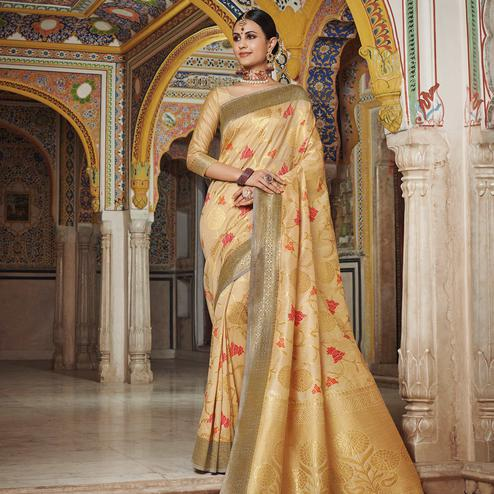 Magnetic Beige Colored Festive Wear Woven Soft Silk Saree