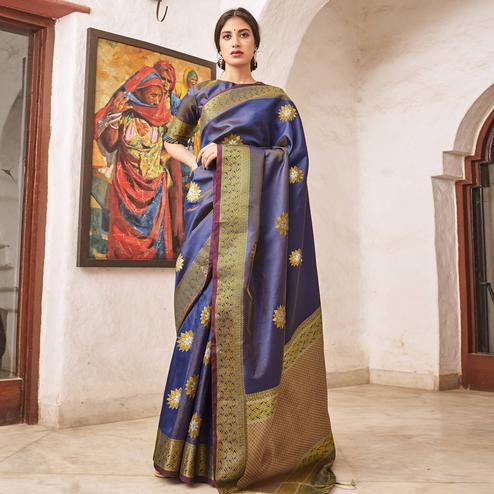 Hypnotic Navy Blue Colored Festive Wear Woven Silk Saree