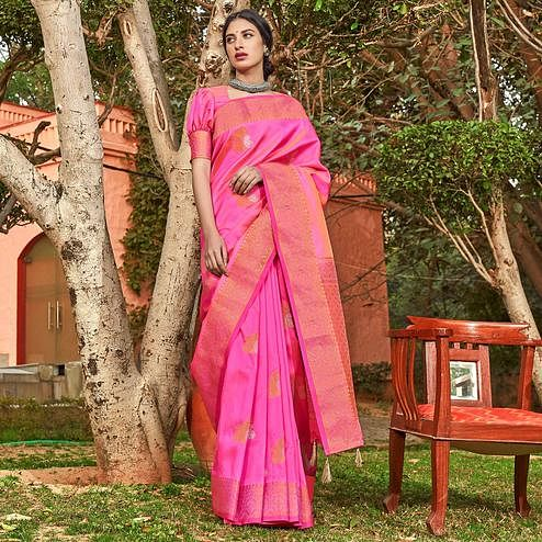 Preferable Pink Colored Festive Wear Woven Silk Saree