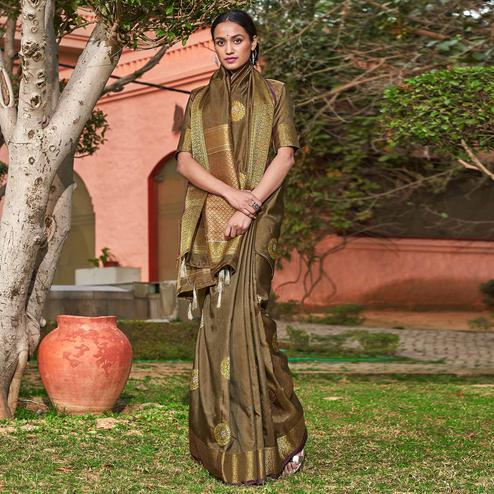Marvellous Brown Colored Festive Wear Woven Silk Saree