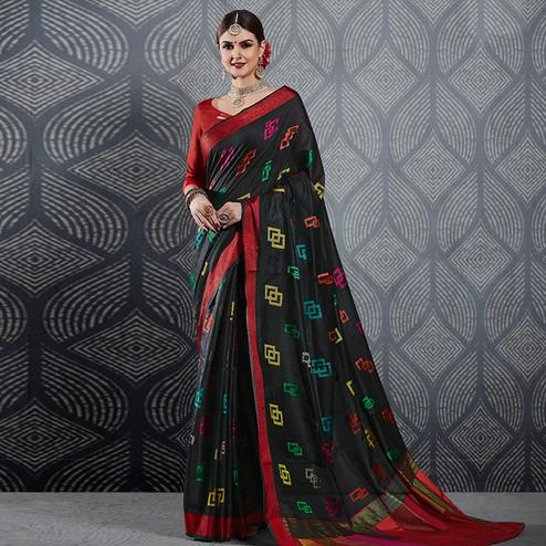 Classy Black Colored Festive Wear Woven Linen Saree