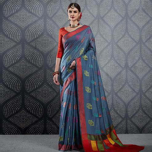 Prominent Gray Colored Festive Wear Woven Linen Saree