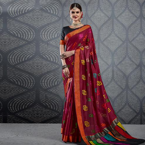 Appealing Wine Colored Festive Wear Woven Linen Saree
