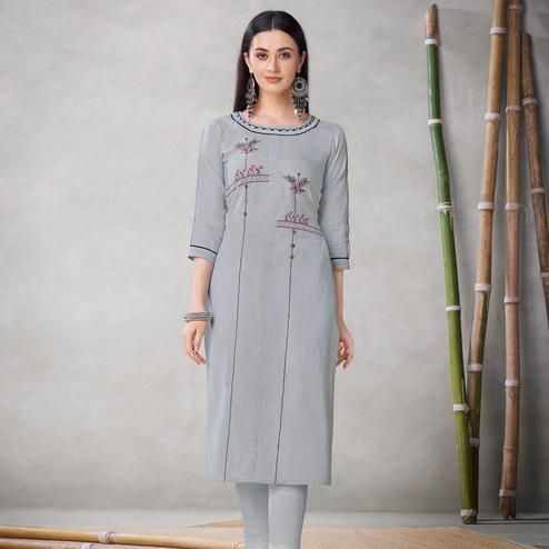 Entrancing Grey Colored Partywear Embroidered Viscose Kurti