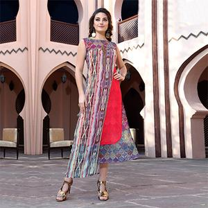 Graceful Multi Colored Designer Partywear Printed Georgette Kurti