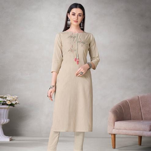 Groovy Beige Colored Partywear Embroidered Viscose Kurti