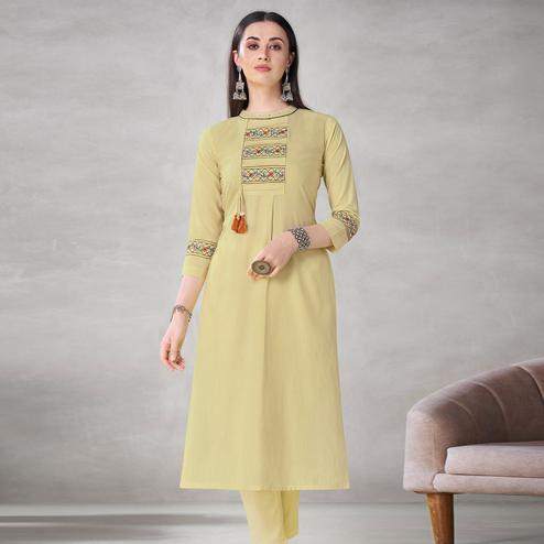 Exclusive Pastel Yellow Colored Partywear Embroidered Viscose Kurti
