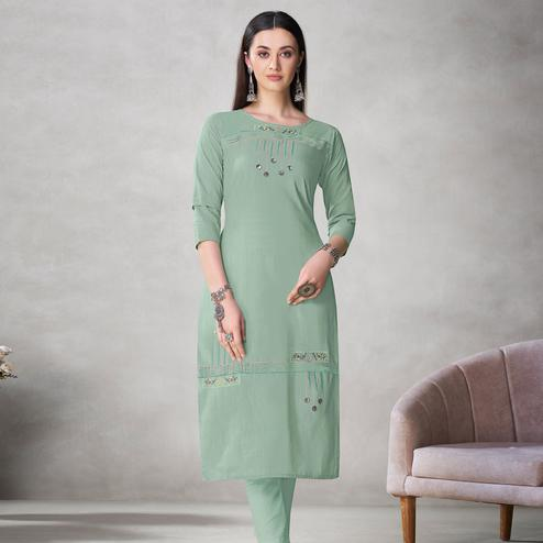 Adorable Sea Green Colored Partywear Embroidered Viscose Kurti