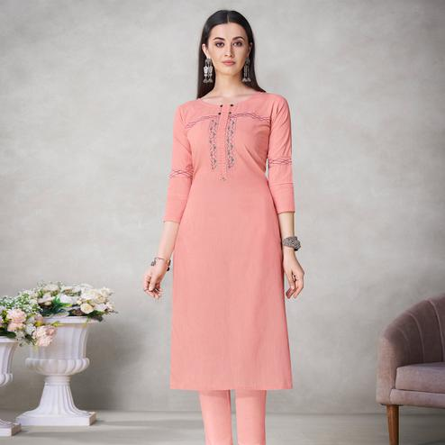 Glorious Peach Colored Partywear Embroidered Viscose Kurti
