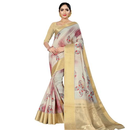 Charming Offwhite Colored Casual Wear Digital Printed Cotton Silk Saree