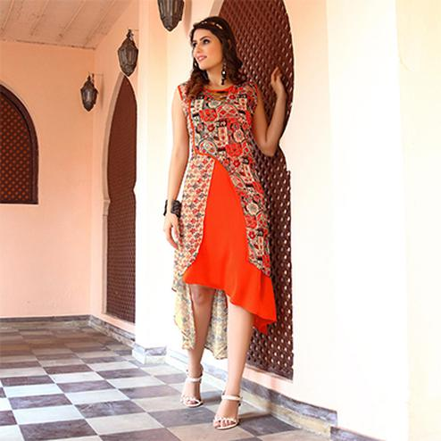 Dazzling Orange Colored Designer Partywear Printed Georgette Kurti