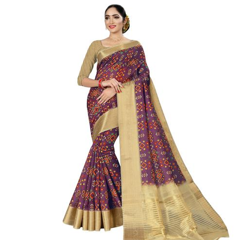 Jazzy Purple Colored Casual Wear Digital Printed Cotton Silk Saree