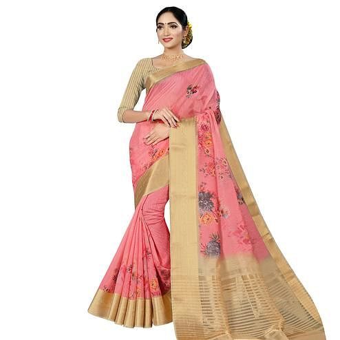 Delightful Pink Colored Casual Wear Digital Printed Cotton Silk Saree