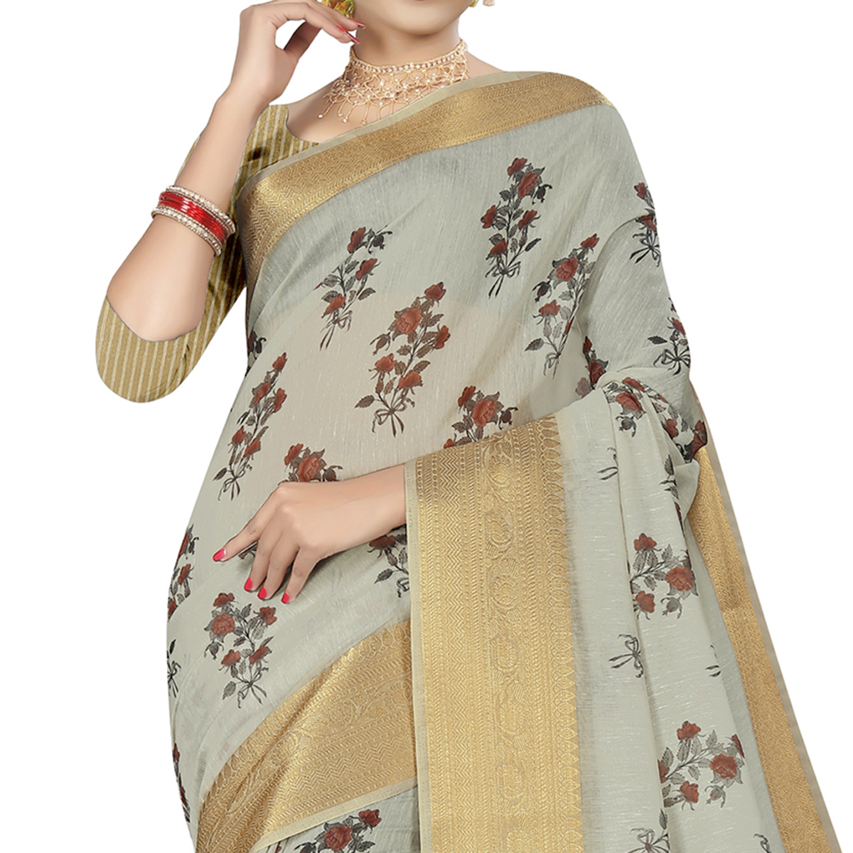 Engrossing Light Grey Colored Casual Wear Digital Printed Cotton Silk Saree