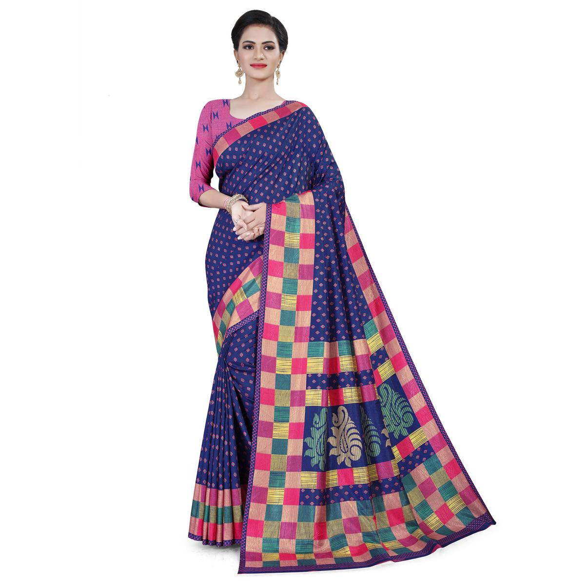 Captivating Navy Blue Colored Casual Wear Printed Cotton Saree