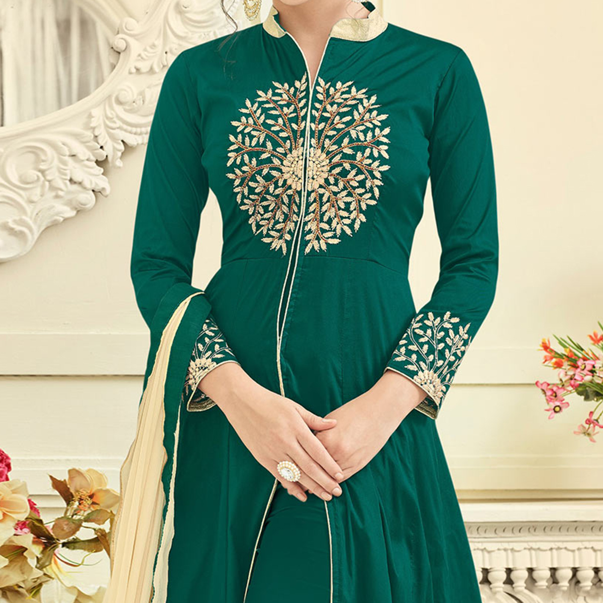 Lovely Green Slit Cut Partywear Tapetta Silk Anarkali Suit