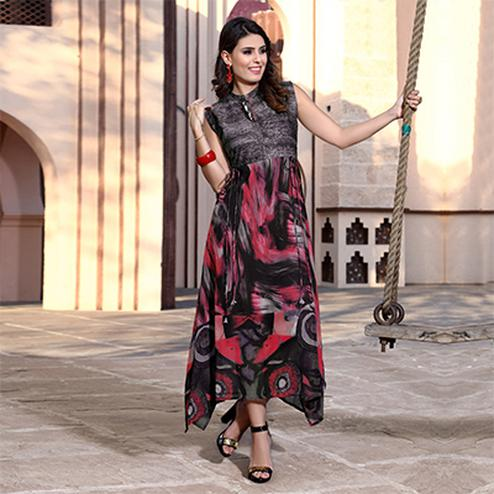 Attractive Multi Colored Designer Partywear Printed Georgette Kurti