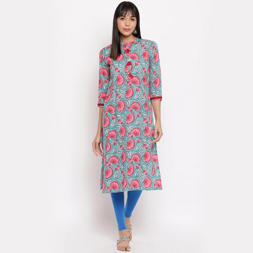 Vbuyz - Women's Turquoise Colored Floral Print Straight Cotton Kurti