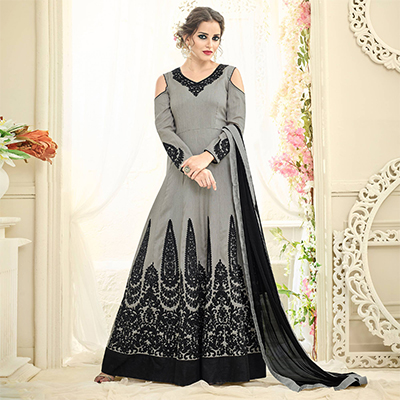 Dazzling Grey Off Shoulder Heavy Embroidered Tapetta Silk Abaya Style Anarkali