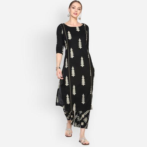 Myshka - Women's Black Cotton Printed Round Neck Casual Kurti