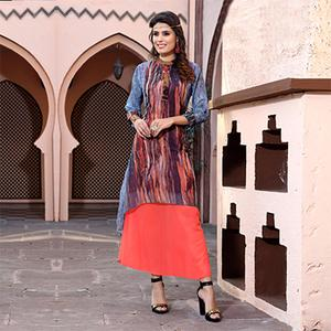 Stunning Multi Colored Designer Partywear Printed Georgette Kurti
