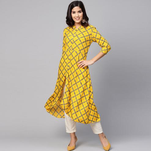 Myshka - Women's Yellow Cotton Printed Regular Sleeves Collared Neck Casual Kurti
