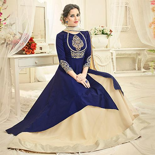 Delightful Blue Embroidered Slit Cut Partywear Tapetta Silk Lehenga Kameez