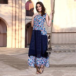 Charming Blue Colored Designer Partywear Printed Georgette Kurti