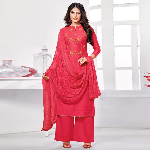 Alluring Red Colored Partywear Embroidered Pure Jam Cotton Dress Material