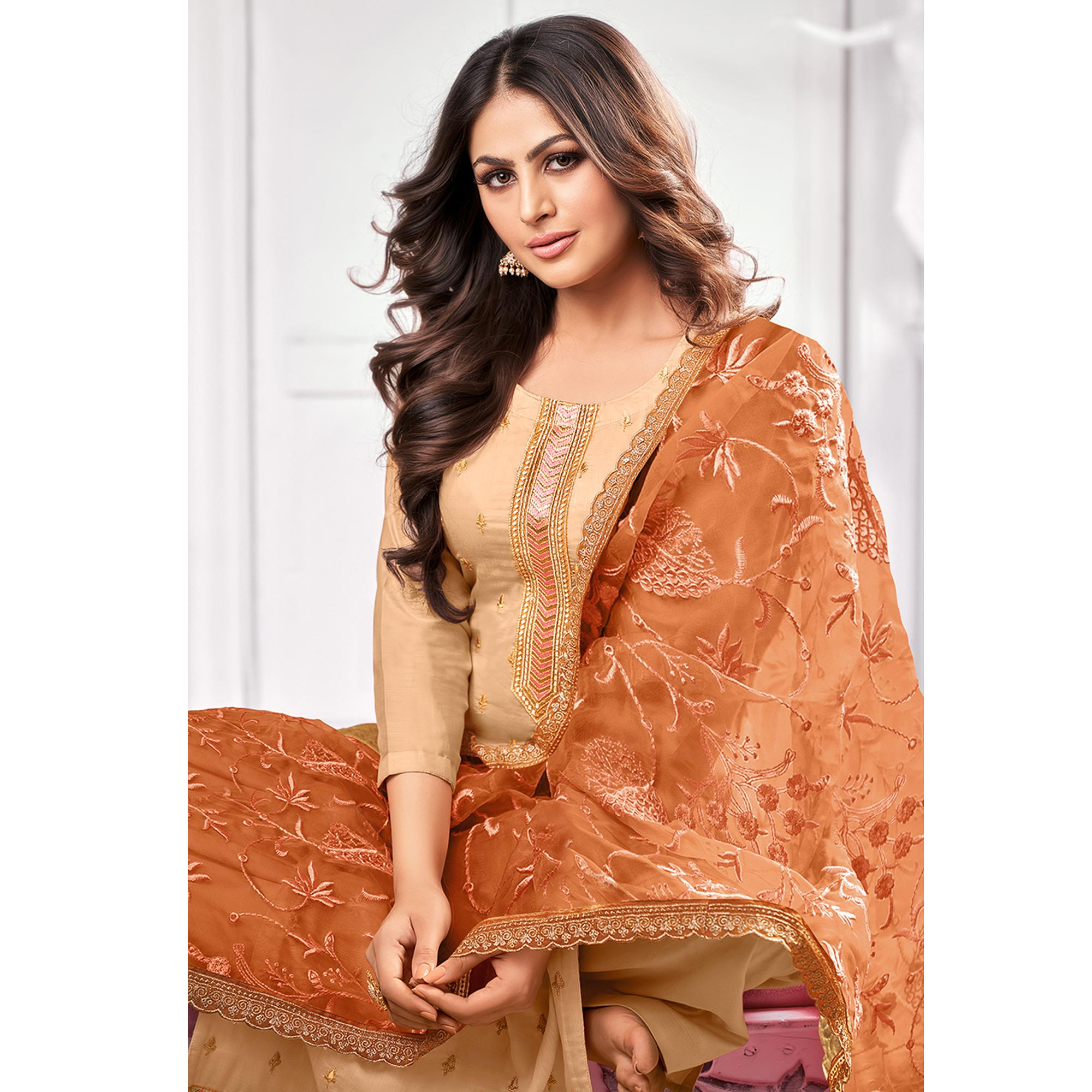 Sensational Beige Colored Partywear Embroidered Pure Jam Cotton Dress Material