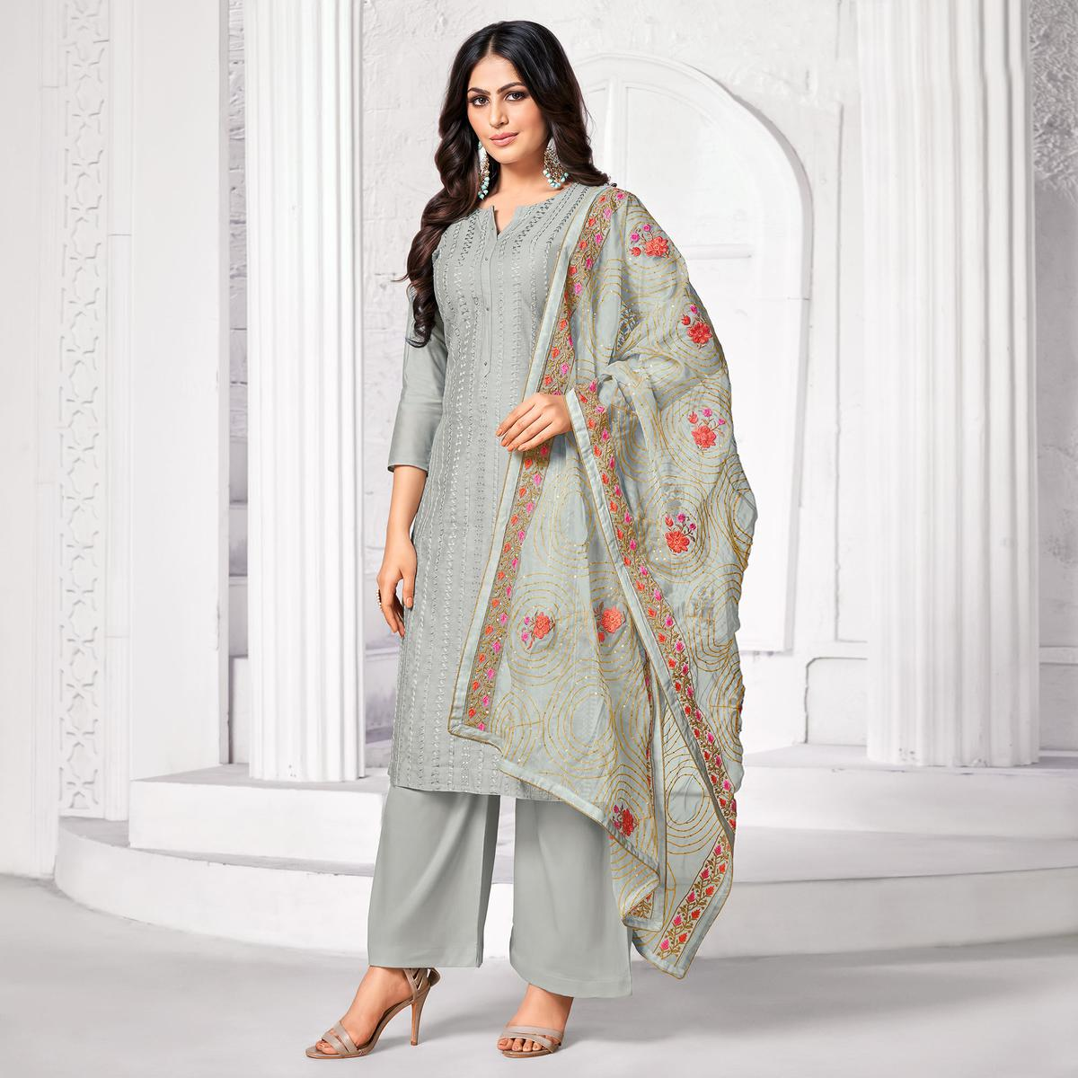 Flaunt Light Grey Colored Partywear Embroidered Pure Jam Cotton Dress Material