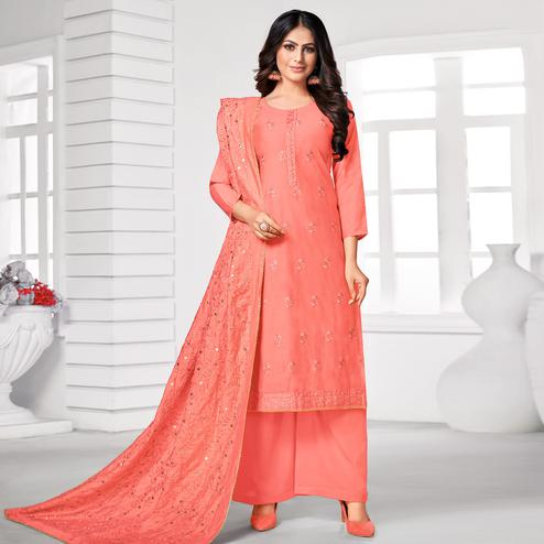 Flirty Peach Colored Partywear Embroidered Pure Jam Cotton Dress Material