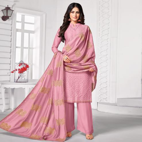 Prominent Light Pink Colored Partywear Embroidered Pure Jam Cotton Dress Material
