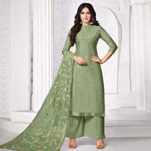 Appealing Olive Green Colored Partywear Embroidered Pure Jam Cotton Dress Material