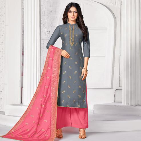 Capricious Grey Colored Partywear Embroidered Pure Jam Cotton Dress Material