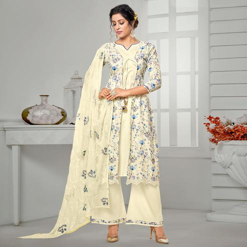 Entrancing Cream Colored Casual Wear Digital Printed Pure Jam Cotton Dress Material