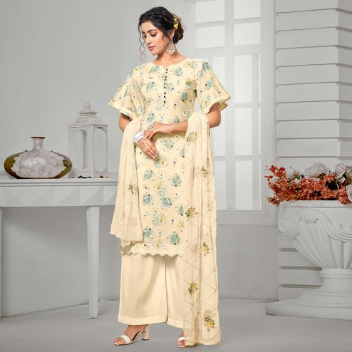 Adorning Beige Colored Casual Wear Digital Printed Pure Jam Cotton Dress Material
