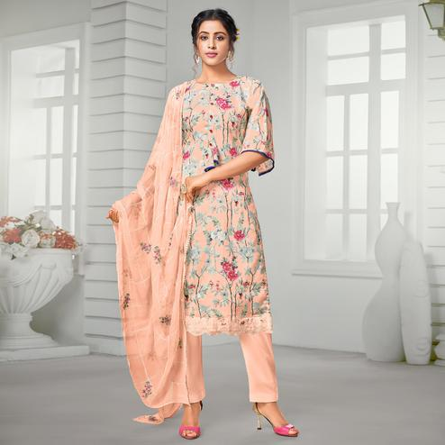 Exclusive Peach Colored Casual Wear Digital Printed Pure Jam Cotton Dress Material