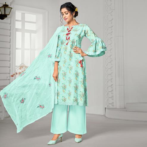 Glorious Aqua Blue Colored Casual Wear Digital Printed Pure Jam Cotton Dress Material