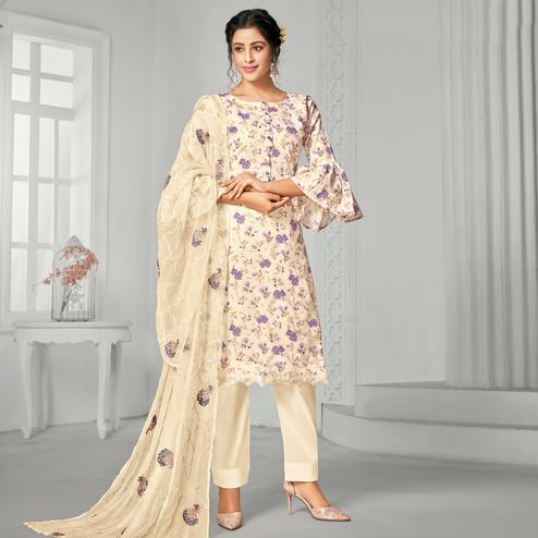 Attractive Beige Colored Casual Wear Digital Printed Pure Jam Cotton Dress Material