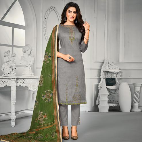 Delightful Grey Colored Partywear Embroidered Jam Satin Dress Material