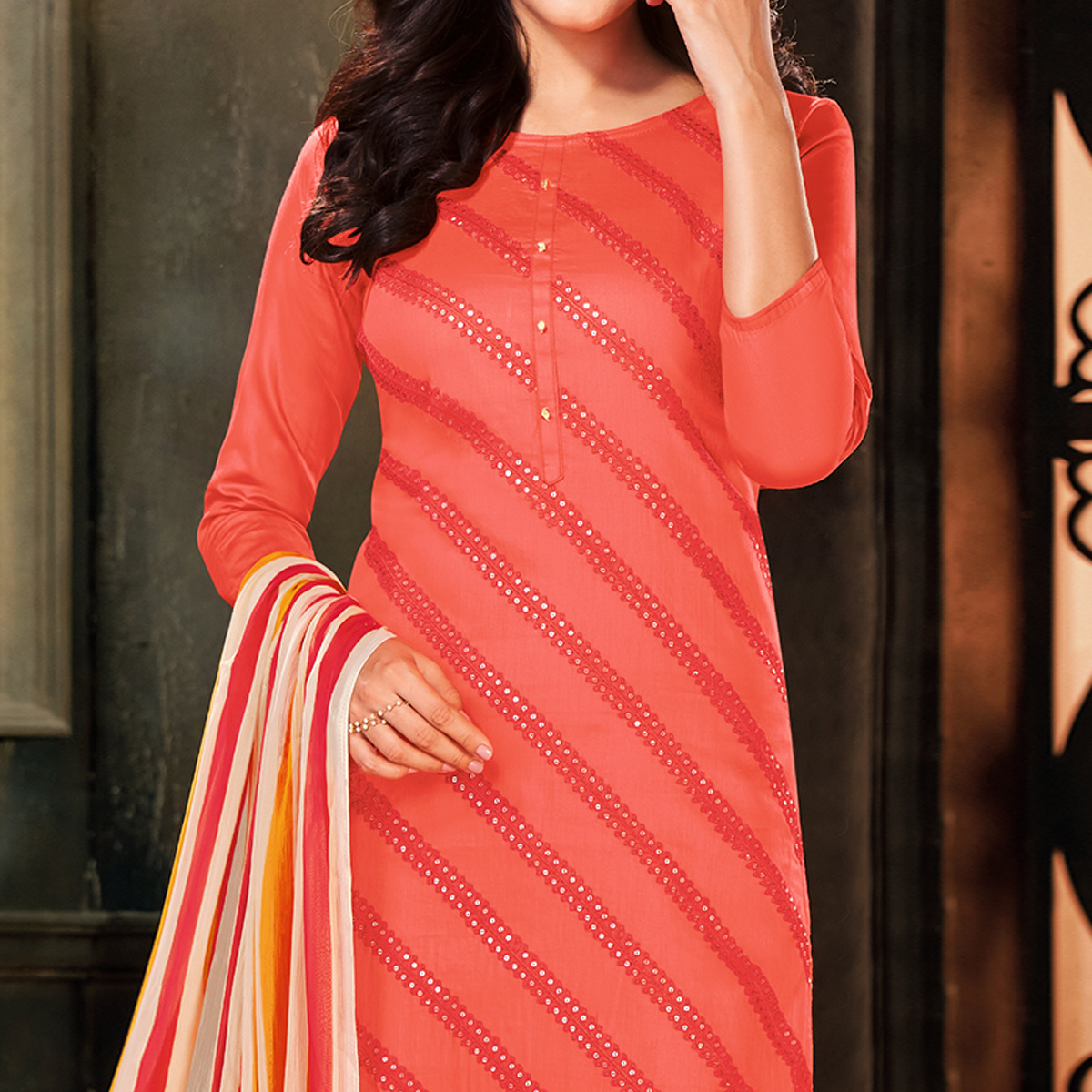 Captivating Peach Colored Partywear Embroidered Chanderi Cotton Dress Material