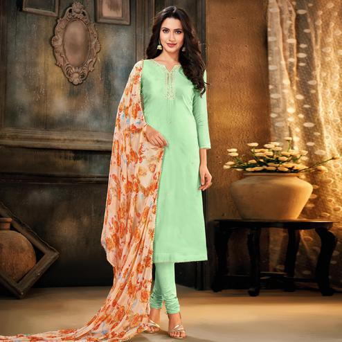 Innovative Pista Green Colored Partywear Embroidered Chanderi Cotton Dress Material